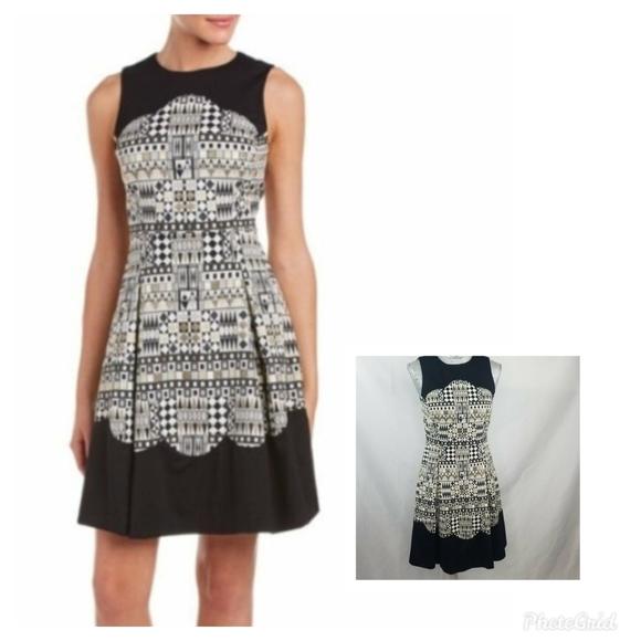 J. McLaughlin Jacquard Black & Gold Party Dress